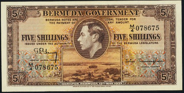 antique money  u2013 value of 12th may 1937 five shillings bank note from bermuda