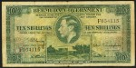 Value of 12th May 1937 Ten Shillings Green Bank Note from Bermuda