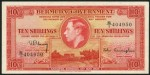 Value of 12th May 1937 Ten Shillings Red Bank Note from Bermuda