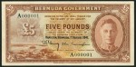 Value of 1st August 1941 Five Pounds Brown Bank Note from Bermuda