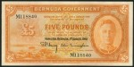 Value of 1st August 1941 Five Pounds Orange Bank Note from Bermuda