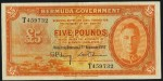 Value of 17th February 1947 Five Pounds Bank Note from Bermuda