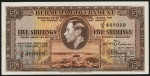 Value of 17th February 1947 Five Shillings Bank Note from Bermuda