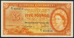 Value of 20th October 1952 Five Pounds Bank Note from Bermuda