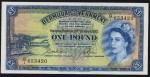 Value of 20th October 1952 One Pound Bank Note from Bermuda