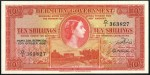 Value of 20th October 1952 Ten Shillings Bank Note from Bermuda