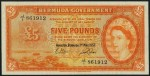 Value of 1st May 1957 Five Pounds Bank Note from Bermuda