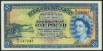 Value of 1st May 1957 One Pound Bank Note from Bermuda