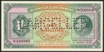 Value of 1st March 1939 One Shilling Specimen Note from Bermuda