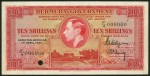 Value of 1st April 1943 Ten Shillings Specimen Note from Bermuda