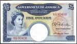 Value of 1960 Five Pounds Bank Note from Jamaica