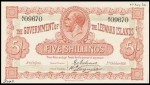 Value of 1st January 1921 Five Shillings Bank Note from The Leeward Islands