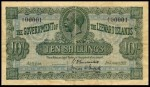Value of 1st January 1921 Ten Shillings Bank Note from The Leeward Islands