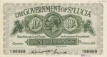 Value of 1st October 1920 Ten Shillings Bank Note from St. Lucia