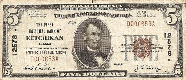 Stolen Ketchikan Bank Note