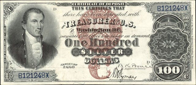 Antique Money – Values of $100 1880 Silver Certificates