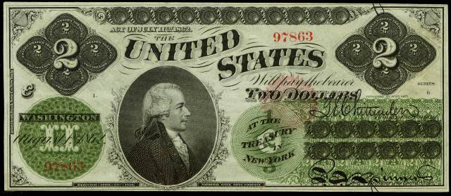 antique money prices for two dollar 1862 legal tenders