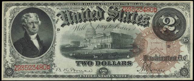 Antique Money – Prices for Two Dollar 1880 Legal Tenders