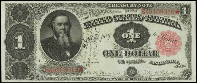 Description: 1891 marks the last year that treasury notes were issued by  The United States.