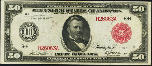 50 Bill Front Picture Value And Other Information Red Seals