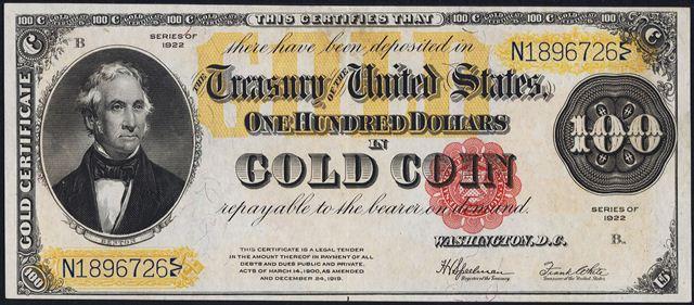 Antique Money – Values of $100 1922 Gold Certificates