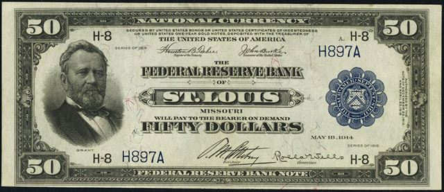 Antique Money – Values of $50 1918 Federal Reserve Bank Notes