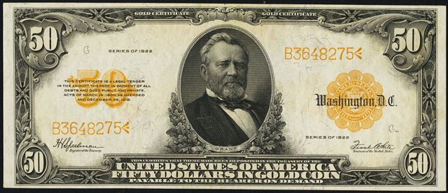 How Much Is An 1922 $50 Gold Certificate Worth? | Sell 1922 Currency ...