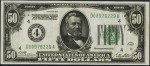 Values of $50 1928 Federal Reserve Notes