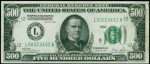 Values of $500 1928 Federal Reserve Notes