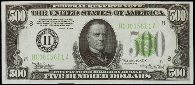 Antique Money Values Of 500 1934 Federal Reserve Notes