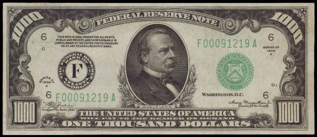 Image result for $1 000 bill