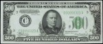 Values of $500 1934A Federal Reserve Notes