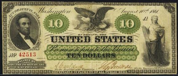 Abraham Lincoln $10 Bill (1861-1863)