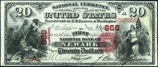 How Much Is A 1865 $20 Bill Worth?