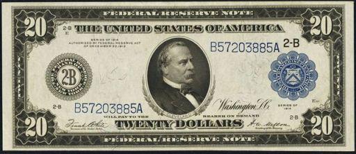 Federal Reserve Note – 1914 Blue Seal – Twenty Dollars