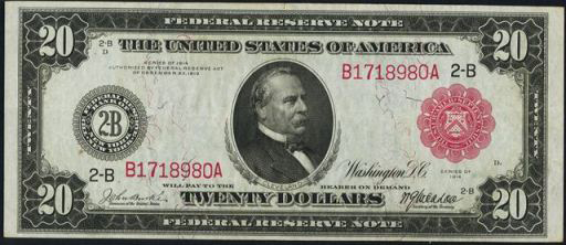 Federal Reserve Note – 1914 Red Seal – Twenty Dollars