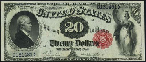 Legal Tender – 1869, 1875, 1878, & 1880 – Twenty Dollars