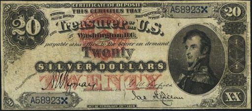 Silver Certificate – 1878 & 1880 – Twenty Dollars