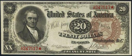 Treasury Note – 1890 & 1891 – Twenty Dollars