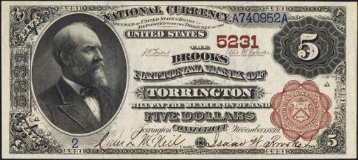 Series of 1882 $5 Brown Back