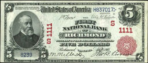 Series of 1902 $5 Red Seal National Currency