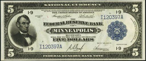 Series of 1918 $5 Federal Reserve Bank Note